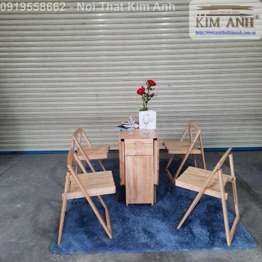 Bộ bàn ghế ăn xếp gọn thông minh 4 ghế gỗ tự nhiên giá rẻ1