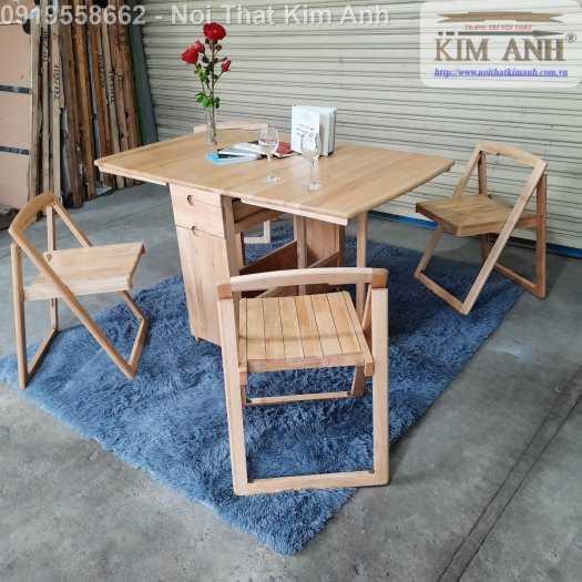 Bộ bàn ghế ăn xếp gọn thông minh 4 ghế gỗ tự nhiên giá rẻ10
