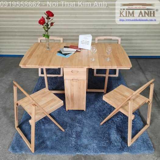 Bộ bàn ghế ăn xếp gọn thông minh 4 ghế gỗ tự nhiên giá rẻ0
