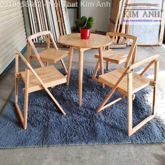 Bộ bàn ghế ăn xếp gọn thông minh 4 ghế gỗ tự nhiên giá rẻ8