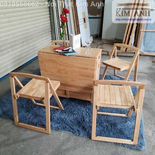 Bộ bàn ghế ăn xếp gọn thông minh 4 ghế gỗ tự nhiên giá rẻ3