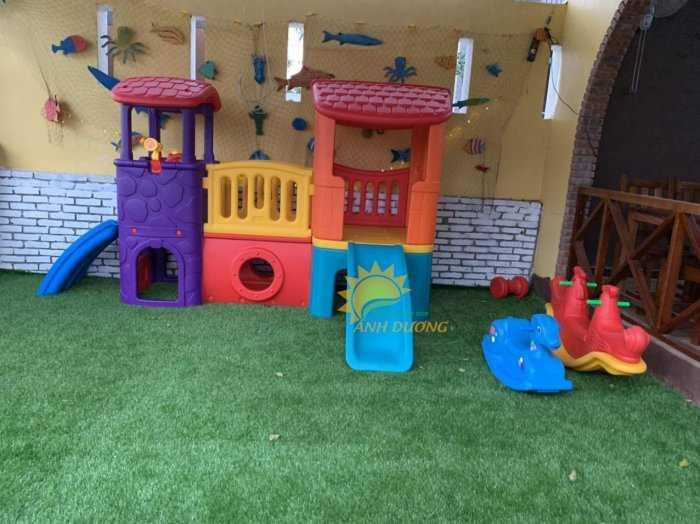 Cầu trượt trẻ em bằng nhựa cho trường mầm non, khu vui chơi, gia đình1