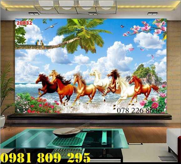 Tranh gạch 3d bát mã truy phong - gạch 3d phong cảnh1