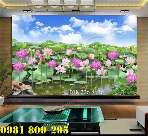 Gạch tranh 3d ốp tường hoa sen - tranh 3d hồ sen4