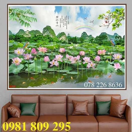 Gạch tranh 3d ốp tường hoa sen - tranh 3d hồ sen0