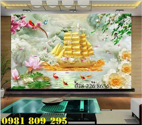 Gạch tranh 3d thuyền buồm - tranh 3d phong thủy1