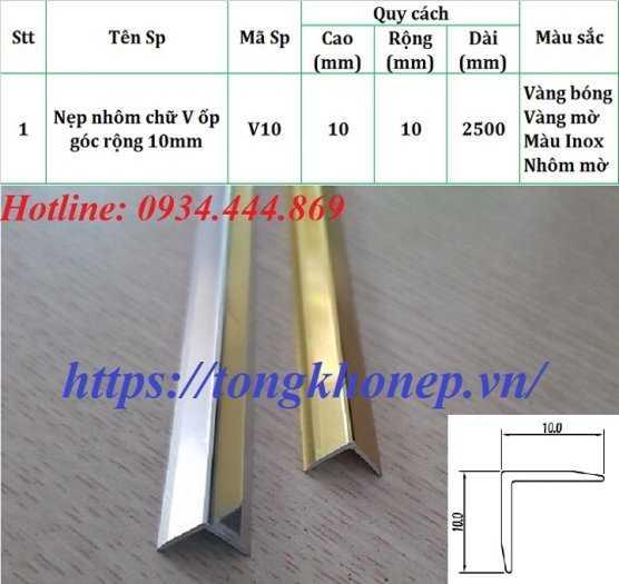 Phân phối nẹp nhôm chữ V10mm1