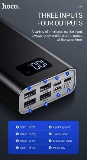 Pin sạc dự phòng Hoco J46A 20000mah 4 cổng USB 2.0A màn hình led3