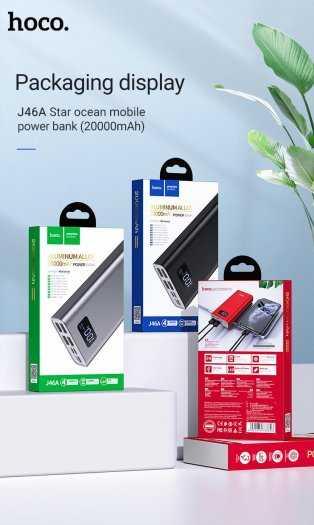 Pin sạc dự phòng Hoco J46A 20000mah 4 cổng USB 2.0A màn hình led2