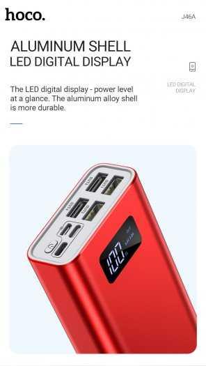 Pin dự phòng Hoco J46A 20000mah 4 cổng USB 2.0A màn hình led mới2
