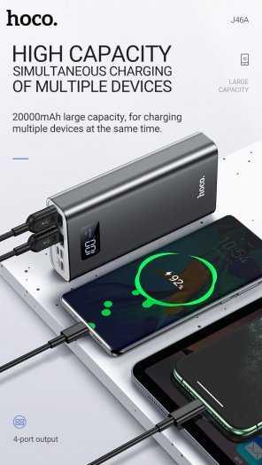 Pin dự phòng Hoco J46A 20000mah 4 cổng USB 2.0A màn hình led mới3