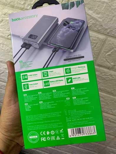 Pin dự phòng Hoco J46A 20000mah 4 cổng USB 2.0A màn hình led mới6