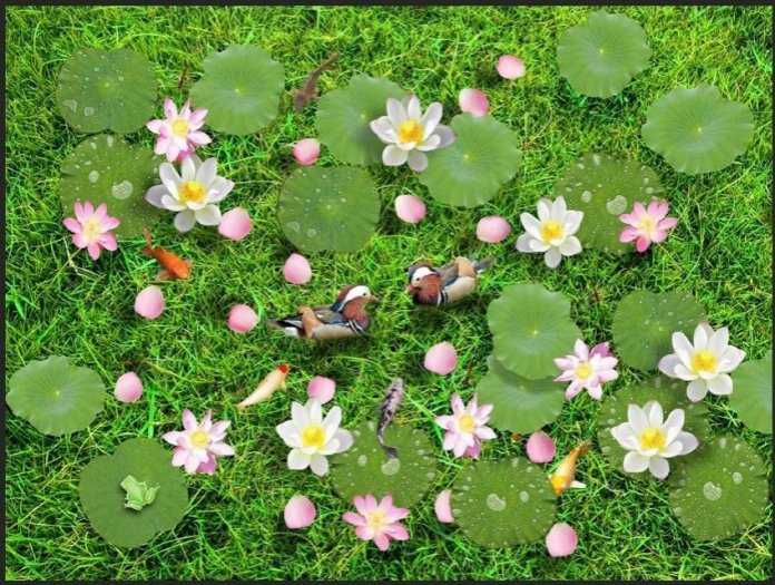 Tranh gạch men 3D - tranh hoa sen1