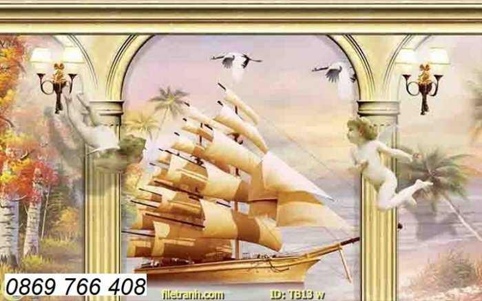 Tranh gạch men-tranh gạch thuận buồm xuôi gió1
