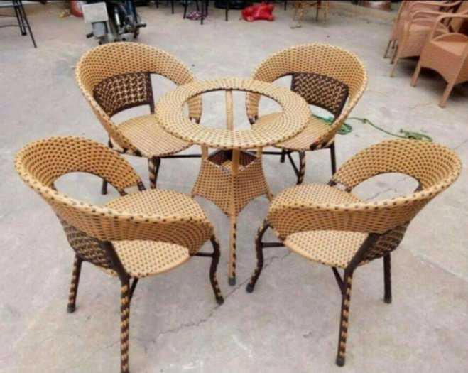 Bộ bàn ghế nhựa giả mây cafe sân vườn0