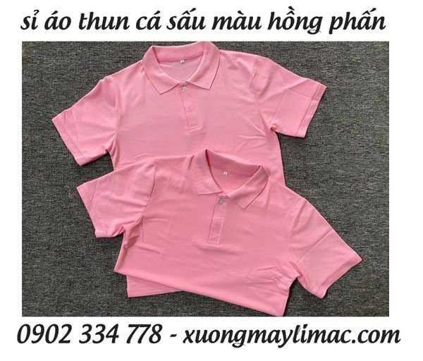 Áo thun cá sấu hồng phấn