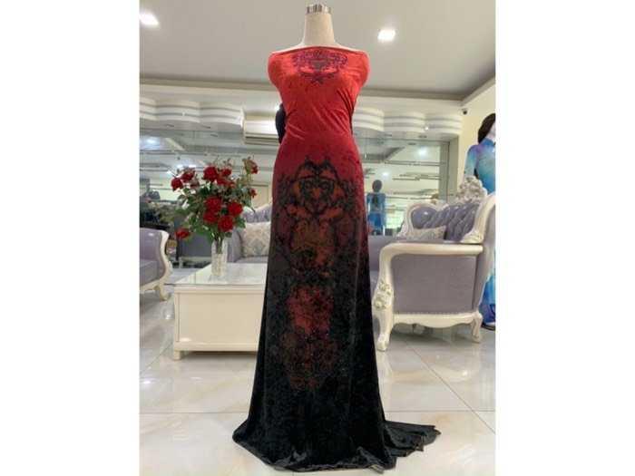 Vải nhung đính đá vịnh hạ long - màu hồng đỏ0