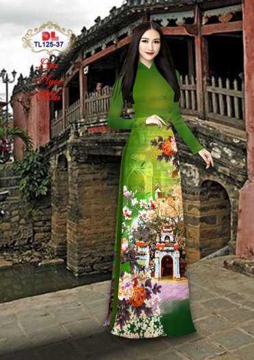 Vải Áo Dài Phong Cảnh Đẹp Tl125 - Vải Lụa Ngọc Mai Cao Cấp2