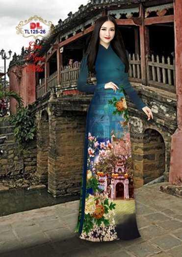 Vải Áo Dài Phong Cảnh Đẹp Tl125 - Vải Lụa Ngọc Mai Cao Cấp0