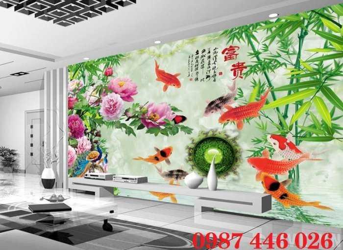 Gạch tranh cá chép- tranh ốp tường 3d HP622