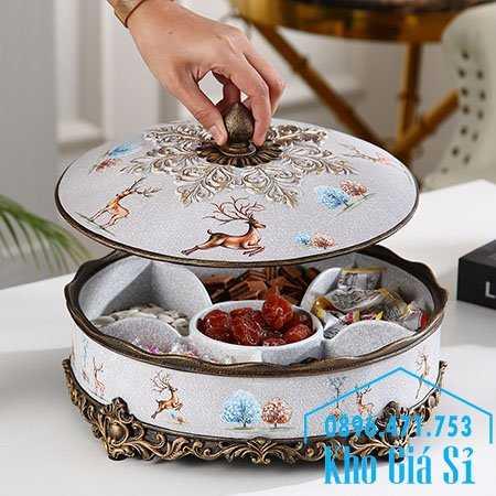 Hộp khay hình tròn 6 ngăn cao cấp nhập khẩu đựng kẹo bánh mứt trái cây sấy hạt dưa ngày tết nguyên đán
