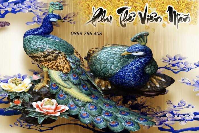 Tranh gạch men-gạch tranh chim công