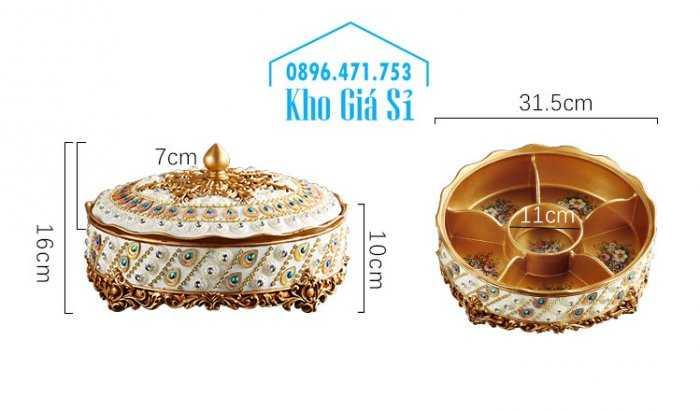 Cửa hàng bán khay hộp giả sứ cao cấp đính kim cương đựng bánh kẹo mứt hạt dưa ngày tết tại TP HCM