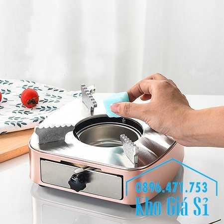 Bán bếp cồn inox cao cấp màu hồng có ngăn kéo đựng cồn - Bếp cồn khô màu hồng cho nhà hàng khách sạn0