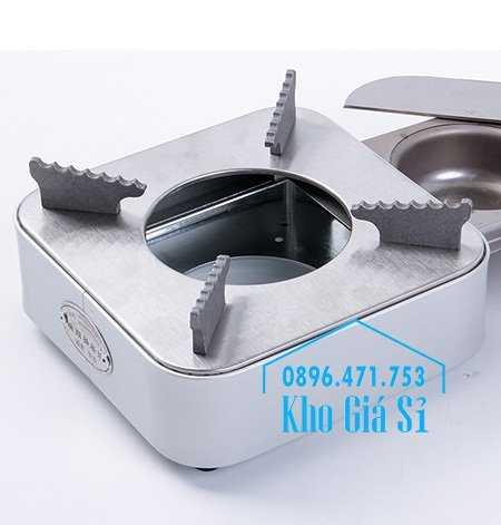 Cung cấp bếp cồn inox hình vuông màu bạc có ngăn kéo đựng cồn cho nhà hàng, quán ăn, resort3