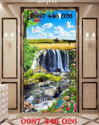 Tranh gạch ốp tường phong cảnh trang trí khổ đứng HP832