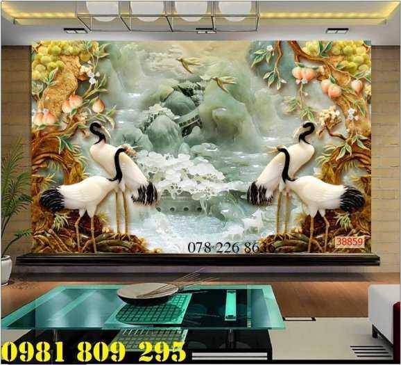 Gạch tranh 3d - tranh gạch men chim công