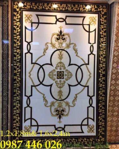Gạch thảm trang trí phòng khách, gạch hoa văn khắc vàng HP7232