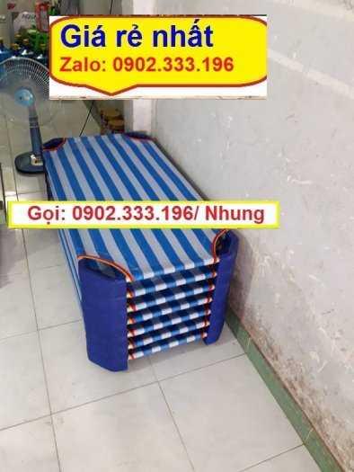 Giường mầm non lưới màu hồng, giường mầm non chân xanh