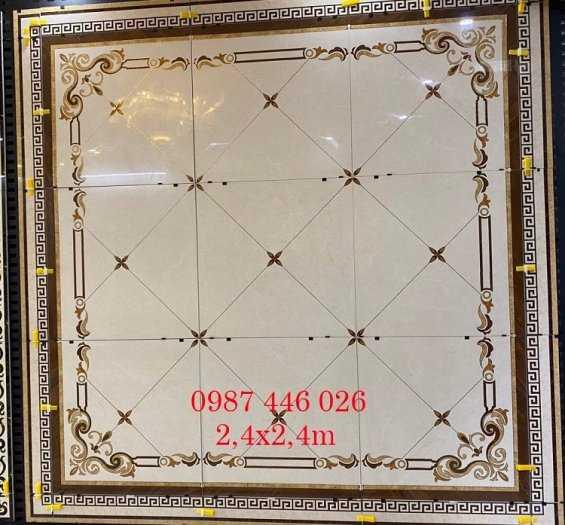 Gạch thảm trang trí hoa văn khắc vàng khổ lơn