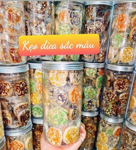Hủ 500gr Kẹo dừa sắc màu đậu phộng cuốn bánh tráng phồng - Food by Mama0