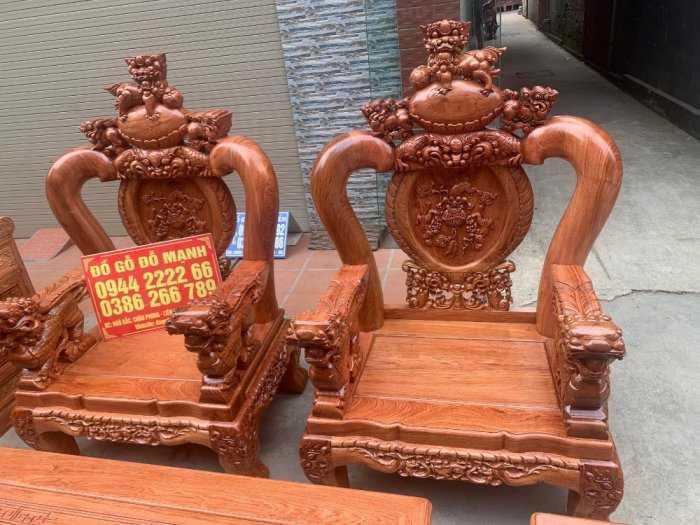 Bộ bàn ghế giả cổ nghê đỉnh gỗ hương đá2