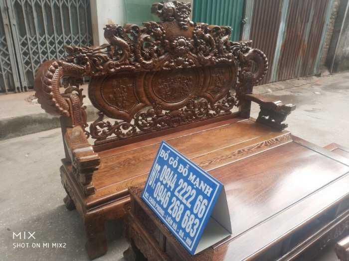 Bộ bàn ghế nghê đỉnh tay khuỳnh vách chữ C gỗ mun đuôi công14