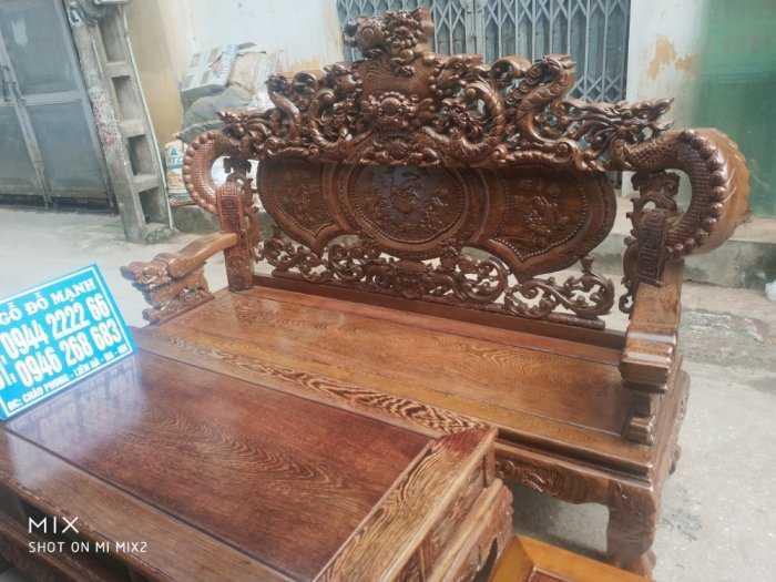 Bộ bàn ghế nghê đỉnh tay khuỳnh vách chữ C gỗ mun đuôi công13
