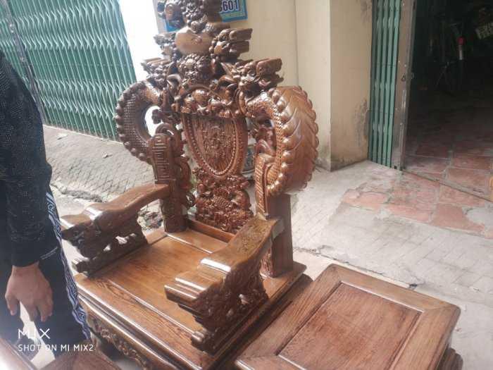 Bộ bàn ghế nghê đỉnh tay khuỳnh vách chữ C gỗ mun đuôi công12