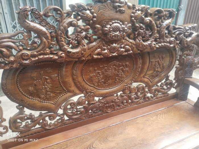 Bộ bàn ghế nghê đỉnh tay khuỳnh vách chữ C gỗ mun đuôi công11