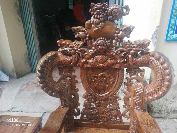 Bộ bàn ghế nghê đỉnh tay khuỳnh vách chữ C gỗ mun đuôi công10