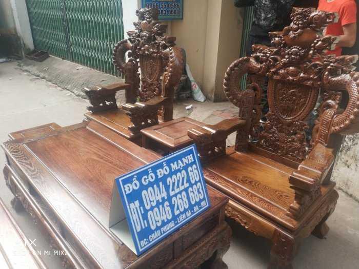 Bộ bàn ghế nghê đỉnh tay khuỳnh vách chữ C gỗ mun đuôi công9