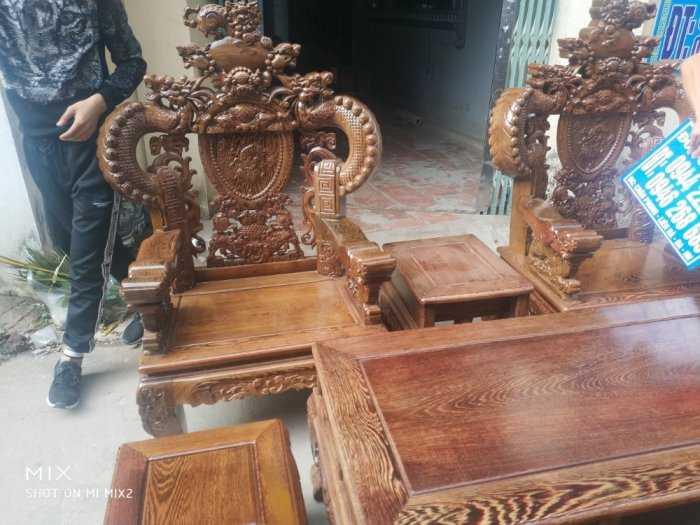 Bộ bàn ghế nghê đỉnh tay khuỳnh vách chữ C gỗ mun đuôi công8