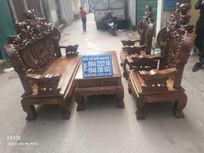 Bộ bàn ghế nghê đỉnh tay khuỳnh vách chữ C gỗ mun đuôi công7