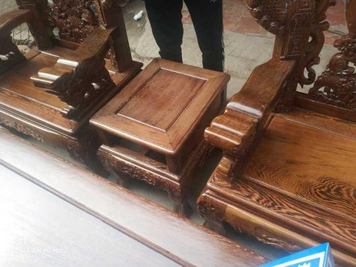 Bộ bàn ghế nghê đỉnh tay khuỳnh vách chữ C gỗ mun đuôi công6