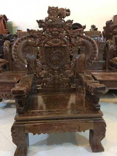 Bộ bàn ghế nghê đỉnh tay khuỳnh vách chữ C gỗ mun đuôi công4