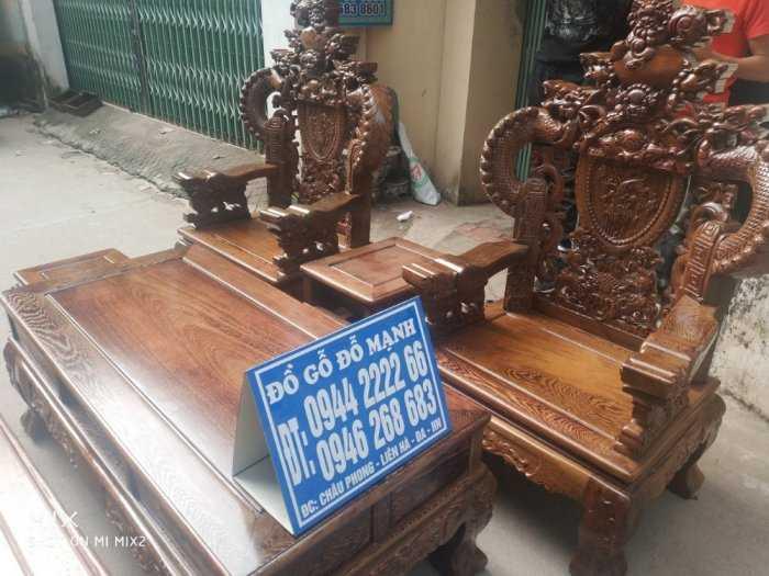 Bộ bàn ghế nghê đỉnh tay khuỳnh vách chữ C gỗ mun đuôi công1