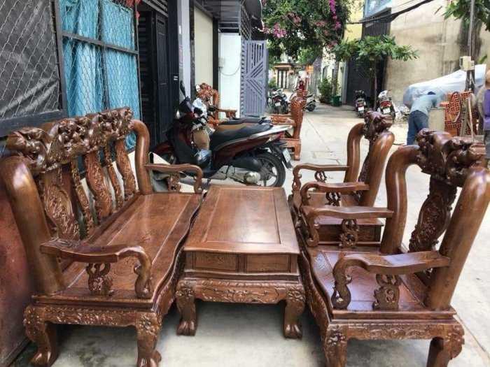 Bộ bàn ghế giả cổ minh quốc đào gỗ mun đuôi công0