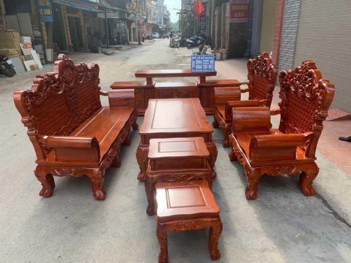 Bộ bàn ghế phòng khách kiểu hoàng gia gỗ hương đá7