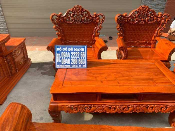 Bộ bàn ghế phòng khách kiểu hoàng gia gỗ hương đá4